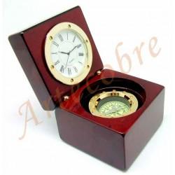 Cubo Reloj Brújula Madera